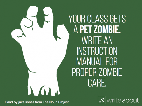 Your class gets a pet zombie. Write an instruction manual for proper zombie care.