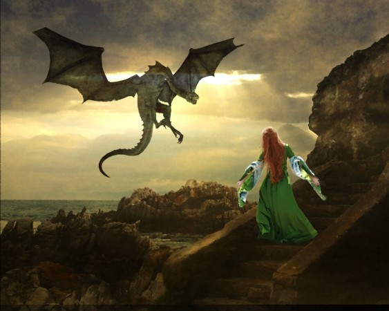 Write about the day the dragon saved the princess from the knight.