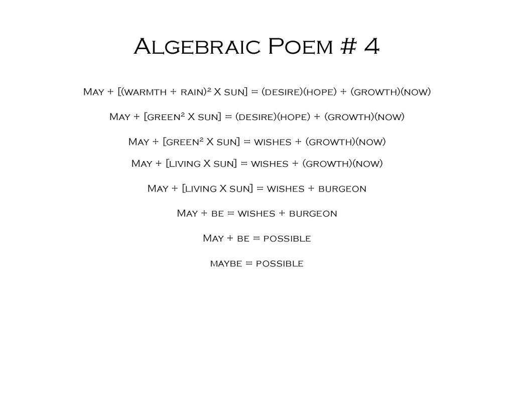 Write your own poem using Algebra!