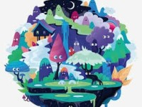 imaginary world with characters
