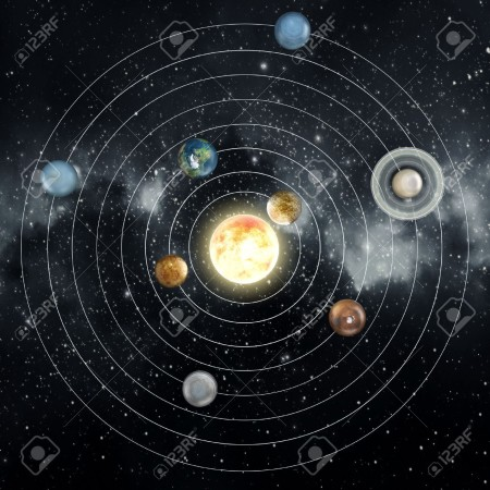 36751557-Solar-system-diagram-in-the-space--Stock-Photo
