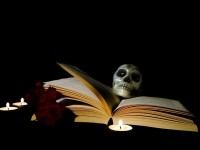Candle-Magic-Book-Halloween-Skull-Postcard-218092